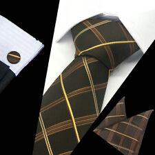 Mens 100% Silk Neckties Brown Tie Hanky Cufflinks Sets Free S&H Start TS-1076