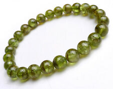 Genuine Natural Green Peridot Gemstone Beads Heaaling Rare Bracelet 8mm AAA