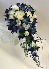 SILK WEDDING BOUQUET BLUE ORCHID TEARDROP ORCHIDS WHITE ROSES FLOWERS BOUQUETS