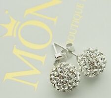 925 Sterling Silver Shamballa Crystal Ball Stud Earrings 3 Colours 6-10mm UK NEW