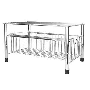 Under Sink Organiser Sliding Basket Drawer 2 Tier Wire Shelf M&W