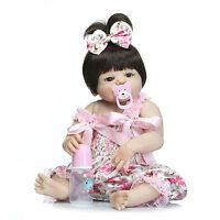"""23"""" Full Body Silicone Vinyl Reborn Baby Girl Doll Toy Lifelike Handmade Kids Gi"""