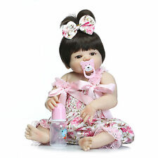 "23"" Full Body Silicone Reborn Baby Girl Doll Vinyl Lifelike Newborn Baby Dolls A"
