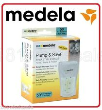 ❤ MEDELA PUMP & SAVE BREASTMILK STORAGE BAGS 50 PACKS PLUS 2 ADAPTORS BPA Free