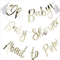 Gold Oh Baby Shower Banner Bunting Gender Reveal Unisex Party Decoration 1.5m