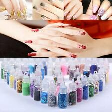 48 Bottles Nail Art Charms Kit Stickers Sequins 3D Glitter Powder Manicure Set