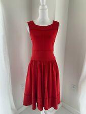 Diane Von Furstenberg Red Wool Jersey Square Neck A-Line Midi Dress SZ S 4 6