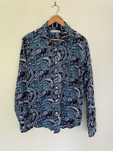 JIMMY STUART Men's cotton paisley long sleeve button up collared M medium shirt