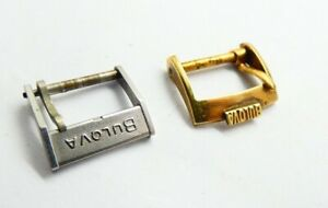 2 Concolute Bulova buckle schliesse 16mm yellow Stainless Steel vintage   (Z619)