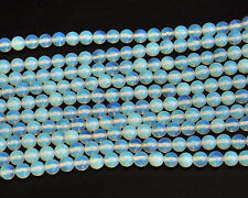 8mm Blue White Opal Gemstone Beads Round Loose Spacer Beads For Jewelry Making