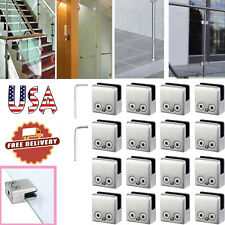 16pcs 304 Stainless Steel Glass Clamps + 2 Size Hexagon Drivers for 8-10mm Glass