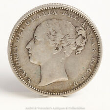 1883 One Shilling Coin Young Queen Victoria Head Silver