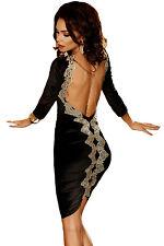 Abito aperto Nudo aderente Ricamato Cerimonia Party Embroidery Open Back Dress L