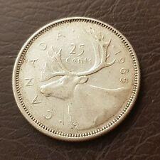Canada 1965 25 Cents Elizabeth II Silver Quarter Coin 25 Cent