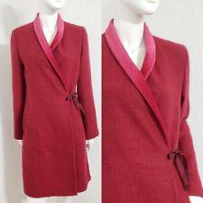 Sisley Velvet Trimmed Mohair Blend Wrap Coat Jacket Sz 40 M $224