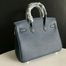 35cm SHW Deep Blue Genuine Leather Shopper Tote Handbag Top Handle Satchel