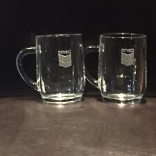 2 CHEVRON Standard Oil Gas Company Etched Glass Mugs, Made In France, RARE
