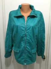 Weekend Chico's Womens  Jacket Zip Long Sleeve Polyester Teal Pockets  Size 2