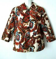 WOMEN'S CHICO'S PAISLEY PRINT 3/4 SLEEVE LINED JACKET WITH ORNATE BUTTONS SIZE 2