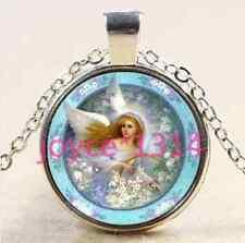 Vintage Angel Cabochon Tibetan silver Glass Chain Pendant Necklace #1814
