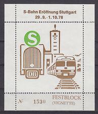 Festblock [Vignette] zur S-Bahn Eröffnung in Stuttgart 1978 - bitte ansehen !!