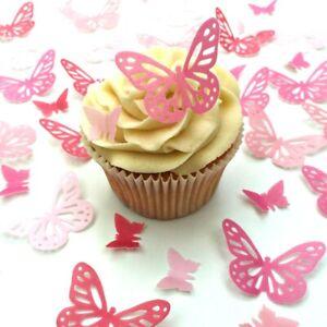 Essbar Tortendeko Schmetterlinge Muffin Tortenaufleger NEU pink rosa Fototorte