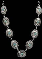 Silver Strike Womens Necklace Scalloped Oval Conchos Silver Turquoise N0478SBTQ