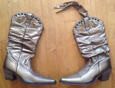 Steve Madden Women's Shyann Gold Leather Western Cowboys Boots W/Studs Size 7.5M