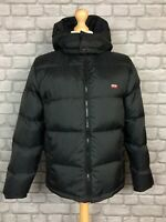 LEVI MENS UK S BLACK  HOODED BUBBLE DOWN PADDED JACKET COAT RRP £130 AD