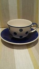 Whittard Coffee Cup and Saucer in Blue Clipper White with Blue Dots