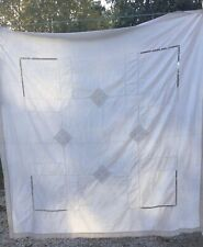 Antique French drawn work ladder stitch tablecloth Linen Small