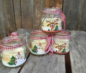 2 x Kerze im Glas mit Duft Weihnachten  Schneemann / Rentier Set Deko Tisch