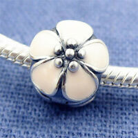 Authentic 100% 925 Sterling Silver White Cherry Blossom Flower Enamel Clip Charm