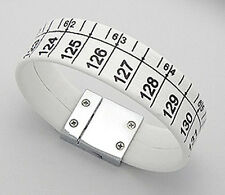 """NEW 7"""" White Tape Measure Suede Leather Bracelet Stainless Steel Clasp STYLISH"""