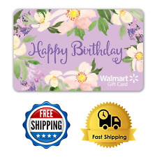 Birthday Gift Card Walmart Floral Easy to Use Mail Delivery from $25 to $300