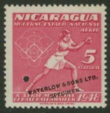 Nicaragua 1949 Softball 5cor Waterlow sample in rose