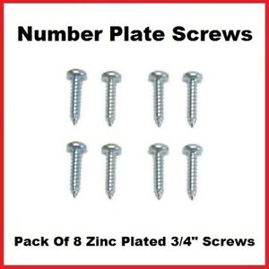 """8x Number Plate Screws 3/4"""" Zinc Plated Rust Proof Phillips Pozi Head 8G"""