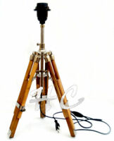 Nautical Style Desk Lamp Table Shade Lamp Brown Wooden Tripod Stand Home Decor
