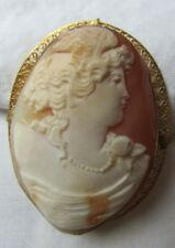 14K Goddess Jade Jewelry Antique Shell Cameo Pendant Brooch