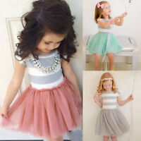 Kids Infant Baby Girls Summer Tutu Dress Princess Party Tulle Dress Clothes 2-7Y