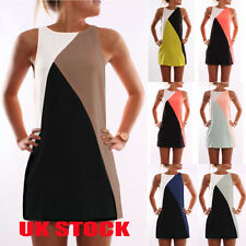 UK Womens Sleeveless Evening Party Mini Dress Ladies Summer Loose Long Tops