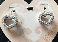 Brighton Silver U R LOVED heart Swarovski crystal french wire EARRINGS NWT