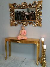 Antique Gold French Provincial Carved Mirror Handmade Leaves Floral Nature Wood