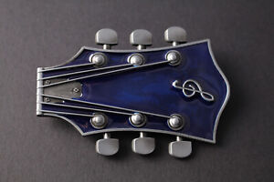 BLUE GUITARS GEAD GUITAR HEAD ROCK BELT BUCKLE METAL MUSIC UNITED KINGDOM
