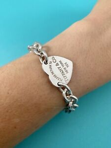 "Tiffany & Co Sterling Silver Return To Tiffany Heart Tag Bracelet 7"" RRP $680"