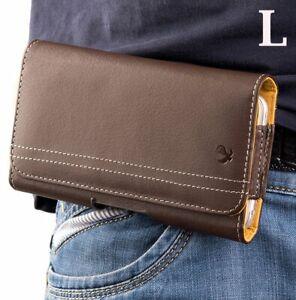Motorola Moto E6 - BROWN Horizontal Leather Pouch Holder Belt Clip Holster Case