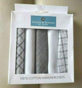 NEW HAINES & BONNER OF LONDON BOX 5 100% COTTON HANDKERCHIEFS WHITE GREY BLACK