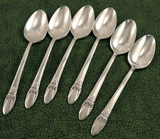 Set 6 Art Deco Teaspoons 1847 Rogers Bros First Love Vintage 1937 Silverplate