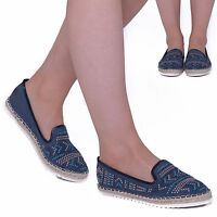 Womens Ladies Diamante Espadrille Sandals Flats Slip on Summer Shoes Size Uk 3-8