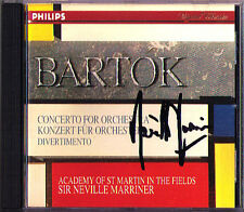 Neville MARRINER Signed BARTOK Concerto for Orchestra Divertimento for String CD